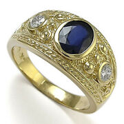 Etruscan Byzantine Style Men's Sapphire And Diamond Ring In 14k Yellow Gold.