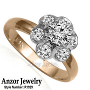 Russian Style Platinum And 18k Rose Gold Diamond Ring R1929