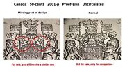 2001-p - 50-cent - Coat Of Arms - Pl Uncirculated - Missing Part Of Design Error