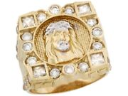 10k Or 14k Real Two-tone Gold Cluster White Cz Jesus Crown Of Thorns Mens Ring