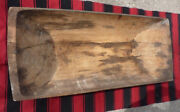 Antique Large Primitive Hand Carved Wood Trencher Dough Bowl