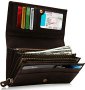 Genuine Leather Wallets For Women Floral Accordion Ladies Wallet Rfid Blocking