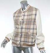Womens Cream Plaid Leather Sleeves Varsity Bomber Jacket Sold Out Fr38 Us6