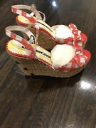 New With Box Harajuku Lovers Red White Plaid Gingham Wedge Picnic Ants Shoes 9