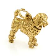 Charm Pendant 14k Yellow Gold French Poodle Dog With Articulated Head - Estate
