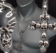 28 109g Skull Crown Cross Rosary 925 Sterling Silver Mens Necklace Chain Pre