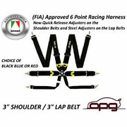 Monza Racing Harness 6 Point 3in Shoulder 3in Lap Straps Rotary Buckle Fia / C