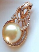 Rare 15mm Golden South Sea Pearl And Diamond Pendant 18ct Rose Gold Val 10410