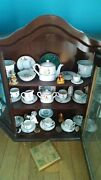 Antique Children's Wall Cabinet With China And Tea Set