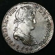 1816 Jj Mexico 1 Real Milled Bust King Ferdinand Vii World Silver Round Coin