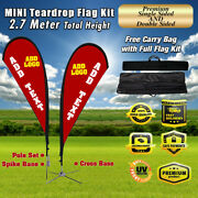 Custom 9and039 Teardrop Flag Advertising Blade Banner Sign Include Pole Kit + Spike