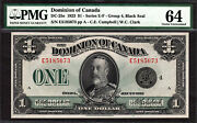 Dominion Of Canada 1923 One Dollar Black Seal Dc-25o Series And039eand039 Pmg 64 Ch Unc