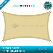 Ifenceview Beige 14'x14'-14'x48' Rectangle Sun Shade Sail Patio Canopy Awning