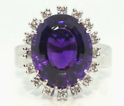 Vintage 18ct White Gold Paladium Amethyst Ring With Diamond Surround
