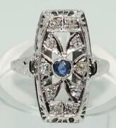 Art Deco Diamond And Blue Sapphire Ring In 18ct White Gold Antique. Circa 1920and039s