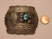 Navajo Gary Johnson .925 Sterling Silver Turquoise Wolf Belt Buckle Was 1095