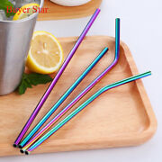 100pcs Stainless Steel Metal Drinking Straw Rainbow Color Straight And Bent Straws