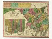 Old Antique Decorative Map Of Maryland And Delaware Tanner Ca. 1836