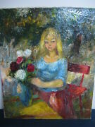 Emilio Thomas Beautiful Oil Painting Signed Girl Holding Rose Flowers In Garden