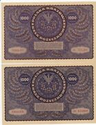 Rc0240 Poland 1919 1000 Marek Polskich 2 Notes Xf Combine Shipping