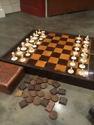 Victorian Rosewood And Satinwood Chess Board + Chess Pieces In Carved Wooden Box.