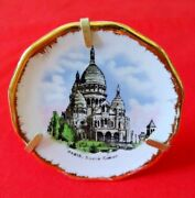Limoges France Porcelain Collector Mini Plate W/ Stand Socre Coeur Scene 2-3/4