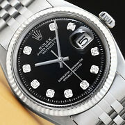 Mens Rolex Datejust 18k White Gold And Stainless Steel Black Diamond Dial Watch