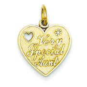 14k Yellow Gold Very Special Aunt Heart Charm Pendant Msrp 214