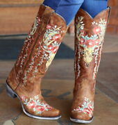 Corral Womens Tan Deer Skull Floral Embroidery Snip Toe Boots A3620 Nib Size
