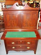 Antique Early 1800and039s American Hepplewhite Drop Front Secretary With Hutch