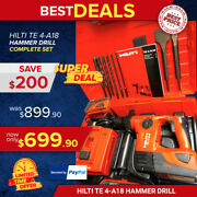 Hilti Te4-a18 Cpc Cordless Hammer Drill, Preowned, Bits And Chisels, Fast Ship