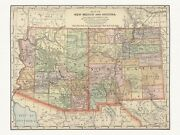 Old Antique Decorative Map Of New Mexico And Arizona Appleton Ca. 1892