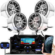 Bluetooth Motorcycle Stereo 4 Speakers Handlebar Audio System Aux Usb Sd Radio