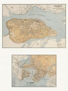 Old Antique Decorative Map Of Halifax And St. John Canada Chalifour Ca. 1915