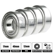 4x Ss6203-zz Ball Bearing 17mm X 40mm X 12mm Metal Sealed Stainless Steel New