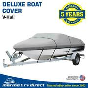 Deluxe 21and039 Runabout Ski V-hull Boat Cover Gray 600 Denier