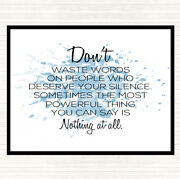 Blue White Waste Words Inspirational Quote Mouse Mat Pad