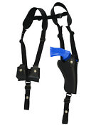 New Black Leather Vertical Shoulder Holster W/ Speed-loader Pouch 4 Revolvers