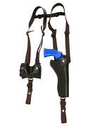 New Brown Leather Vertical Shoulder Holster W/ Speed-loader Pouch 6 Revolvers