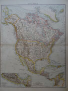 Large Victorian Map 1896 Of North America The Times Atlas 1st Gen