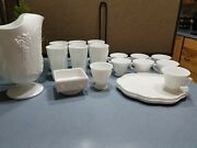 Unbranded Milk Glass Grapevine Pitcher 6 Tall Cups 7 Tea Cups 2 Cake Plates