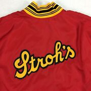 Vintage 80s Strohs Beer Windbreaker Pullover Sz Xl Red 1984 Baseball Usa Made