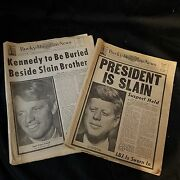 Two Rare Kennedy Full Legible Newspapers - Death Of Jfk Burial Of Rfk