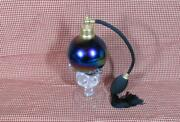 Vintage Footed Perfume Bottle With Atomizer Iridescent Murano Glass 1980's