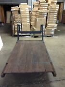 Wood Iron Authentic Antique Vintage Factory Industrial Cart Wagon Coffee Table