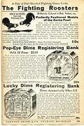 1935 Small Print Ad Of Fighting Roosters, Popeye And Lucky Dime Registering Bank