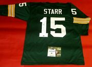Bart Starr Autographed Green Bay Packers 3/4 Sleeve Jersey Aash 15
