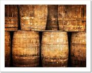 Stacked Whisky Barrels In Vintage Style Art Print Home Decor Wall Art Poster - F