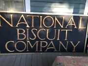 National Biscuit Company Early 1900s Antique Wooden Sign Gold Nabisco