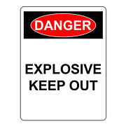 Danger Explosive Sign Aluminum Metal Health And Safety Warning Uv Print Signs